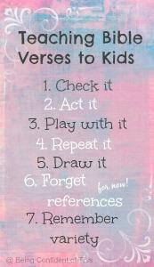7 ways to teach bible verses to kids, teaching bible verses to kids, memory verse, preschool, toddler, children, homeschool, church, creative ways to learn memory verses, scripture