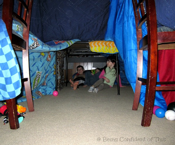Energy-burning Indoor Fun for Kids, giant tent fort, energy-burning indoor fun, active winter fun, gross-motor play