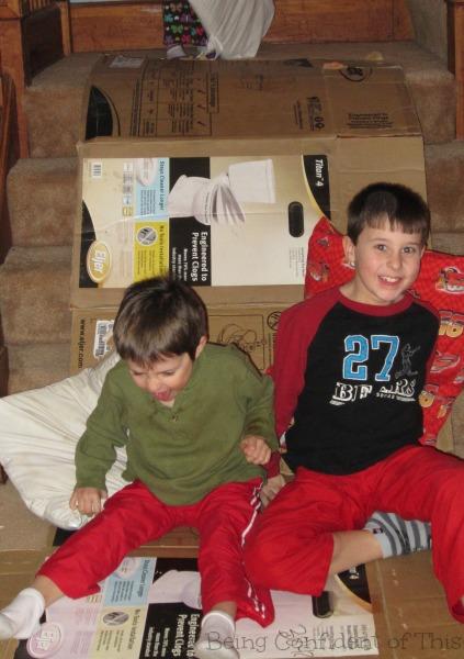Energy-burning Indoor Fun for Kids, turn stairway into slide, energetic indoor fun, energy-burning activities for rainy days, winter indoor activities